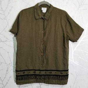 Hot Cotton Olive Green Linen Blouse Velvet Detail